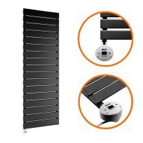 1190 x 400mm Electric Black Single Flat Panel Vertical Radiator
