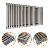 600 x 1193mm Raw Metal Lacquered Horizontal Traditional 2 Column Radiator