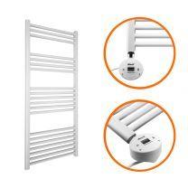 1200 x 400mm Electric White Heated Towel Rail