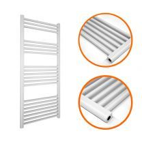 1200 x 400mm Straight White Heated Towel Rail