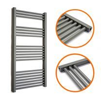 1200 x 600mm Straight Anthracite Heated Towel Rail
