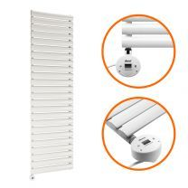 1411mm x 400mm Electric White Single Oval Panel Vertical Radiator