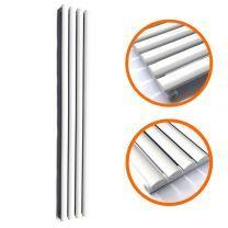 1600 x 236mm White Single Oval Tube Vertical Radiator