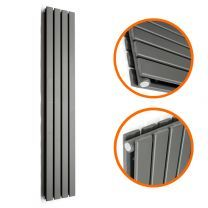 1600 x 280mm Anthracite Double Flat Panel Vertical Radiator