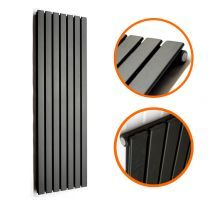 1780 x 490mm Black Single Flat Panel Vertical Radiator
