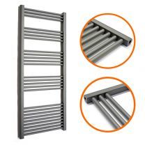 1600 x 600mm Straight Anthracite Heated Towel Rail
