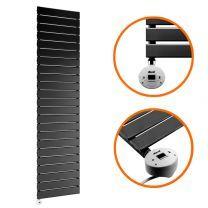 1610 x 400mm Electric Black Single Flat Panel Vertical Radiator