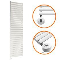 1652mm x 400mm Electric White Single Oval Panel Vertical Radiator