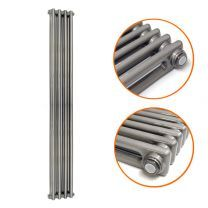 1800 x 203mm Raw Metal Lacquered Vertical Traditional 2 Column Radiator
