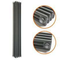 1800 x 203mm Anthracite Vertical Traditional 3 Column Radiator