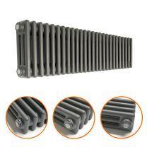 300 x 1193mm Anthracite Horizontal Traditional 3 Column Radiator