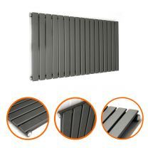 400 x 1190mm Black Single Flat Panel Horizontal Radiator
