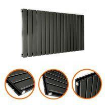 400 x 1190mm Black Double Flat Panel Horizontal Radiator