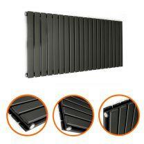 400 x 1400mm Black Double Flat Panel Horizontal Radiator