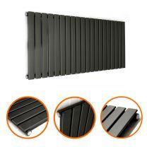 400 x 1400mm Black Single Flat Panel Horizontal Radiator