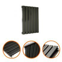 400 x 420mm Black Single Flat Panel Horizontal Radiator
