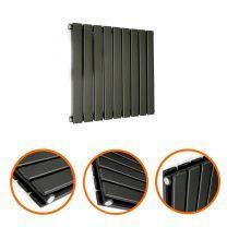 400 x 630mm Black Double Flat Panel Horizontal Radiator