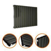 400 x 840mm Black Double Flat Panel Horizontal Radiator