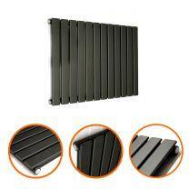 400 x 840mm Black Single Flat Panel Horizontal Radiator