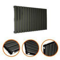 400 x 980mm Black Double Flat Panel Horizontal Radiator