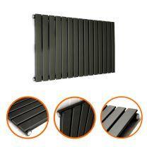 400 x 980mm Black Single Flat Panel Horizontal Radiator