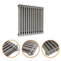 600 x 608mm Raw Metal Lacquered Horizontal Traditional 2 Column Radiator