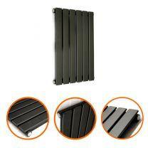 635 x 420mm Black Single Flat Panel Horizontal Radiator