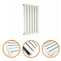 635 x 420mm White Single Flat Panel Horizontal Radiator