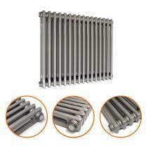600 x 788mm Raw Metal Lacquered Horizontal Traditional 2 Column Radiator