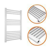 800 x 400mm Straight White Heated Towel Rail