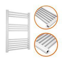 800 x 600mm Straight White Heated Towel Rail