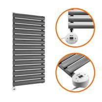 834 x 400mm Electric Anthracite Single Oval Panel Vertical Radiator