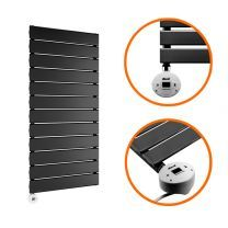 840 x 400mm Electric Black Single Flat Panel Vertical Radiator