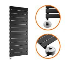 980 x 400mm Electric Black Single Flat Panel Vertical Radiator