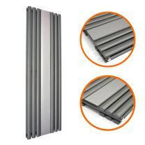 1800 x 500mm Anthracite Vertical Radiator With Mirror, Double Panel