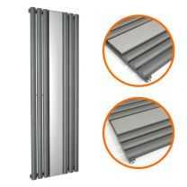 1800 x 500mm Anthracite Vertical Radiator With Mirror, Single Panel