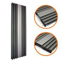 1800 x 500mm Black Vertical Radiator With Mirror, Double Panel