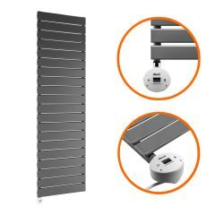1400 x 400mm Electric Anthracite Single Flat Panel Vertical Radiator