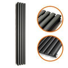1600 x 236mm Black Single Oval Tube Vertical Radiator