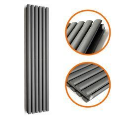 1600 x 354mm Anthracite Double Oval Tube Vertical Radiator