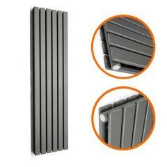 1780 x 420mm Anthracite Double Flat Panel Vertical Radiator