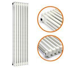1800 x 383mm White Vertical Traditional 3 Column Radiator