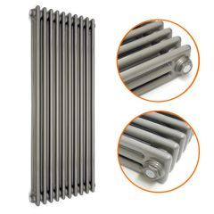 1800 x 470mm Raw Metal Lacquered Vertical Traditional 3 Column Radiator